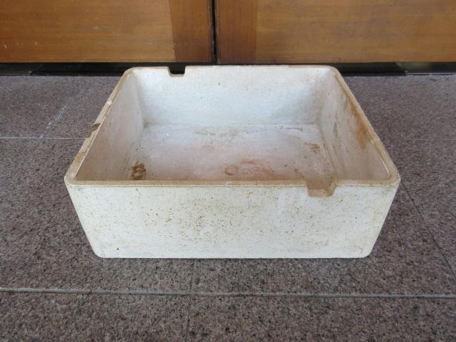 中古 サヤ鉢 底あり 四角 約32cm×28cm 高さ10.5cm<入荷>