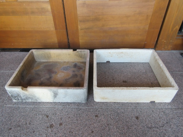 中古 サヤ鉢 底あり 底なし 四角 約42cm×37cm 高さ12cm 2点セット