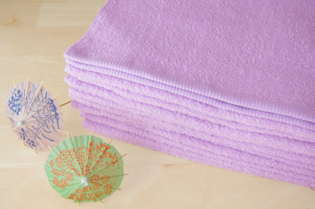 230匁 カラー フェイスタオル 藤色 紫 パープル