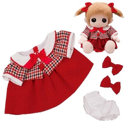 ユメル/YUMEL 夢の子ネルル ネルル ミルル 夢の子コレクション 42 ベルベット風ワンピース (リボン・パンツ付) 服