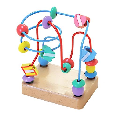 【おもちゃのジャンボ】 木のおもちゃ くねくねミニ (ブルー) ルーピング ビーズコースター 木製玩具 通販 販売