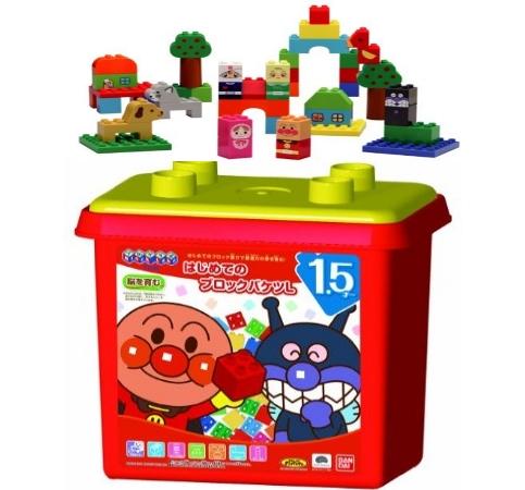 【おもちゃのジャンボ】 アンパンマン はじめてのブロックバケツL 脳を育む ブロック おもちゃ 遊びながら お勉強 知育 教育 通販 販売