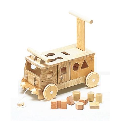 木のおもちゃ 森のパズルバス (乗用)