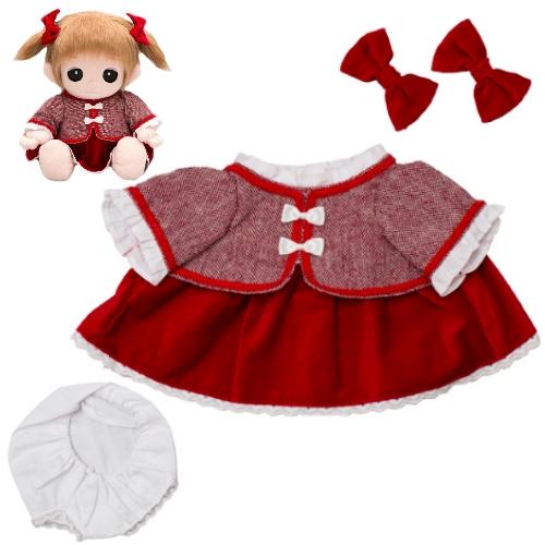 【おもちゃのジャンボ】 ユメル ネルル ミルル 夢の子コレクション44 赤色ジャガード風ワンピース(リボン、パンツ付き) 通販 販売