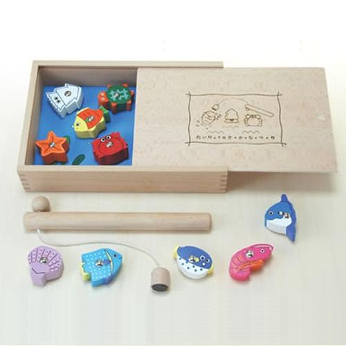 木のおもちゃ たいりょう魚つりセット (木箱入り)