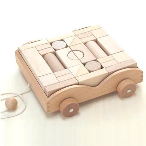 木のおもちゃ 積木セット 積木車 (32ピース)