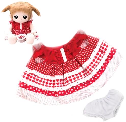 ユメル ネルル ミルルのお洋服 夢の子コレクション45 ハート柄水玉ワンピース パンツ付き かわいい水玉柄の赤の女の子用お洋服