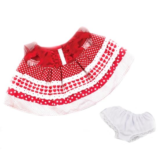 ハート柄水玉ワンピース パンツ付きは 素敵な赤色の水玉ワンピースにフリルがアクセントの女の子用お着替えお洋服