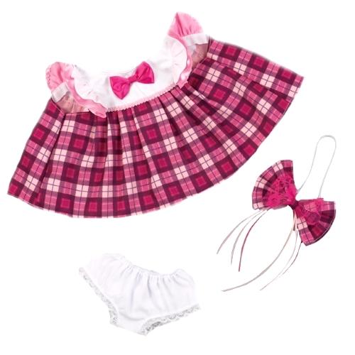 ピンクのチェック柄ワンピース リボン・パンツ付きは 素敵なピンクのチェック柄ワンピースにフリルがアクセントの女の子用お着替えお洋服