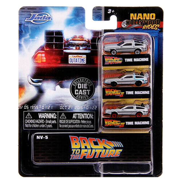 バック・トゥー・ザ・フューチャー ジェイダトイズ メタルズ ナノ・ハリウッド・ライズ 1.65インチ ダイキャストカー タイムマシン デロリアン 3パック