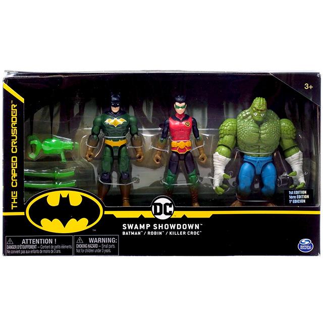スピンマスター DCコミックス クリーチャーカオス ウォルマート限定 4インチ アクションフィギュア 3パック スワンプ・ショウダウン (バットマン & ロビン & キラークロック)