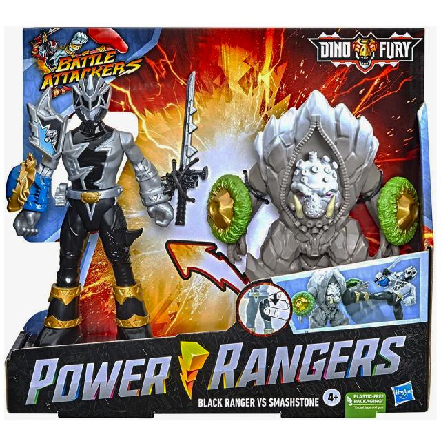 ハズブロ パワーレンジャー:ダイノフューリー バトル・アタッカーズ アタックフィギュア 2パック ブラックレンジャー & スマッシュストーン