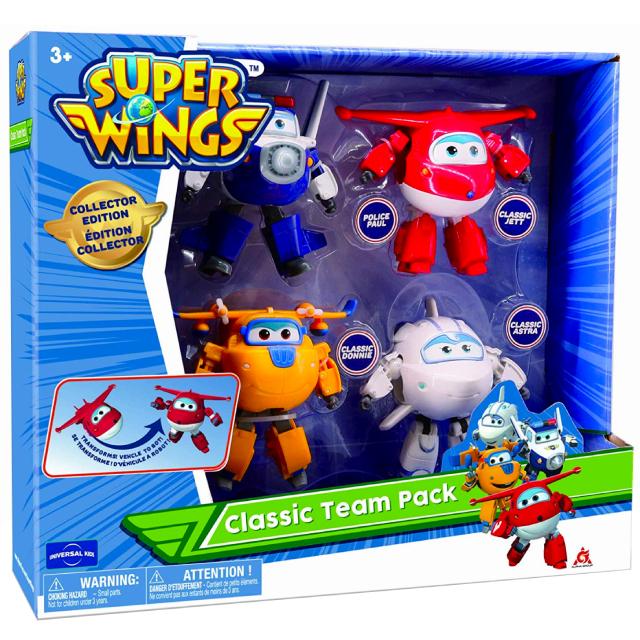 スーパーウィングス 5インチ トランスフォーミング アクションフィギュア クラシック・チーム 4パック (ジェット & ドニー & ポール & アストラ)