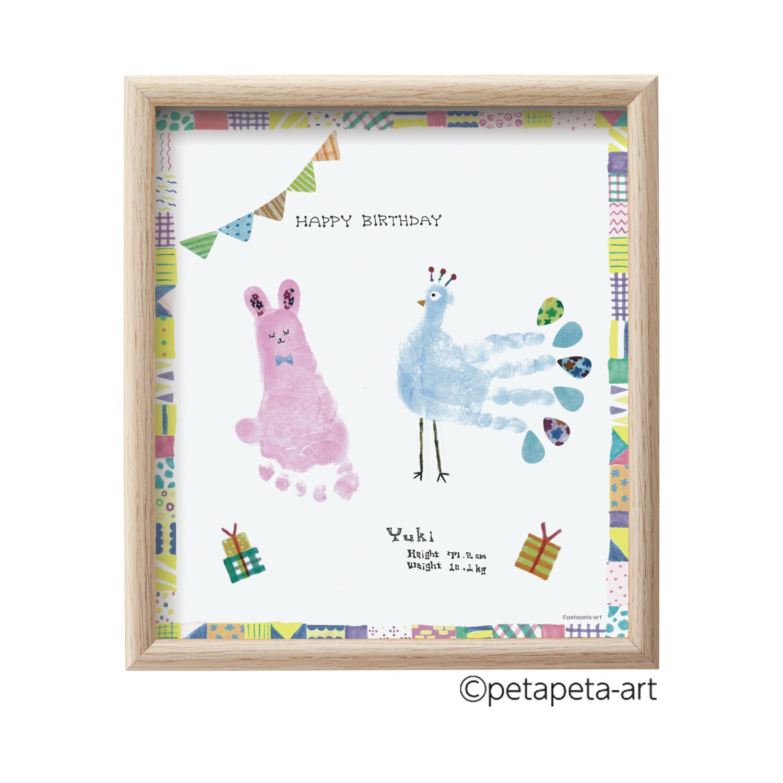 FirstArt 色紙 ウサギとクジャク