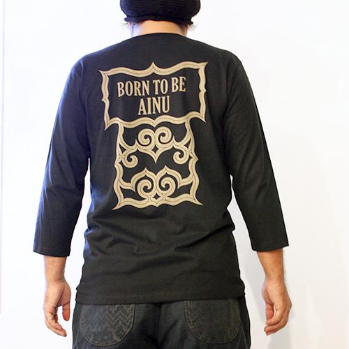 アイヌ文様Tシャツ - SAPPORO 七分袖Tシャツ(2色展開)_3