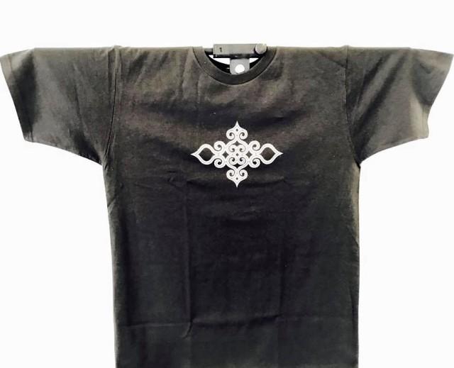アイヌ文様Tシャツ - Tシャツ katsu_black_おもて