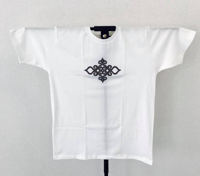 アイヌ文様Tシャツ - Tシャツ katsu_white_おもて