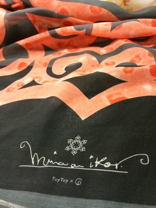 アイヌファッション - mina an ikor 大判ストール(グレー×オレンジ)_4