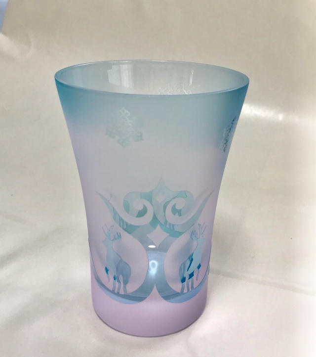 アイヌ文様グラス - Yuk-terke pink blue_2