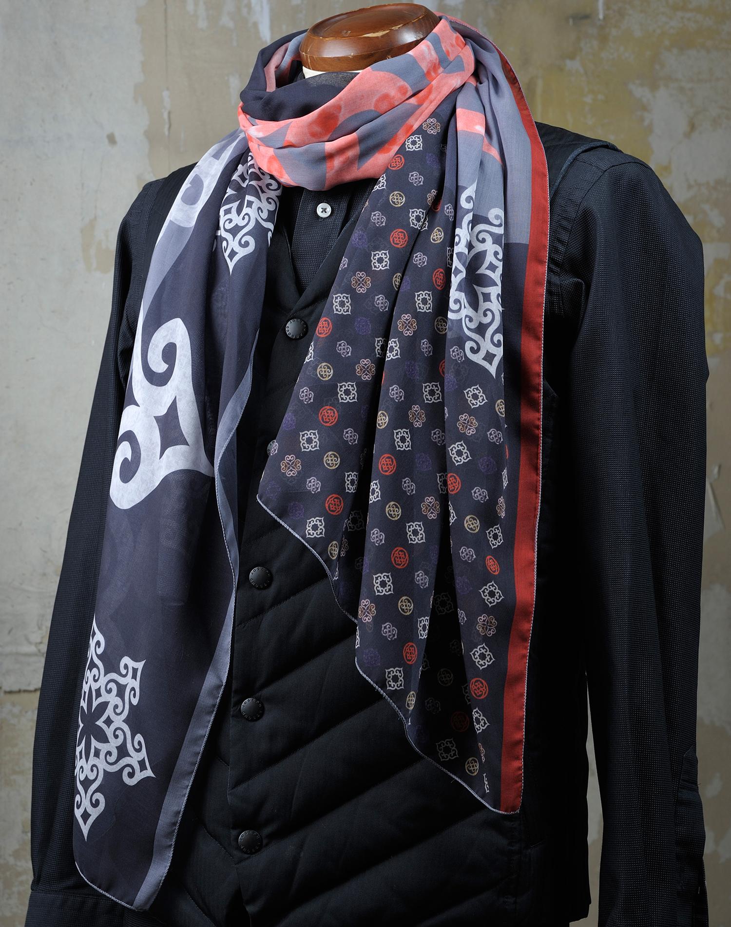 アイヌファッション - mina an ikor 大判ストール(グレー×オレンジ)_1