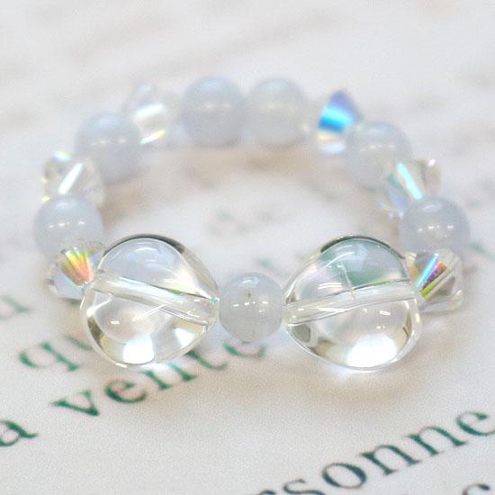 パワーストーン 水晶リボンリング ブルーレース4mm 天然石指輪 (tg151215qua001whirin) メール便可