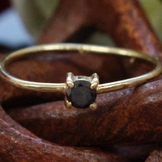 K18ブラックダイヤモンドリング9号サイズ(天然石パワーストーンレディース用) (tg160517bla001blarin) メール便不可