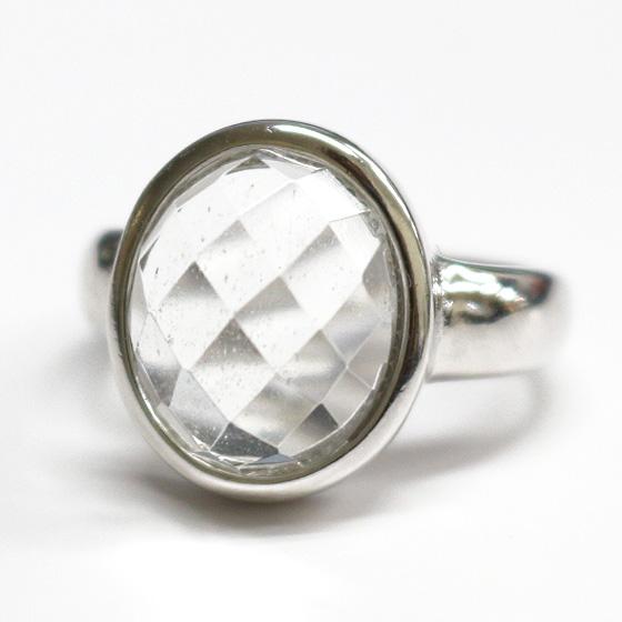 マニカラン産オーバルカットヒマラヤ水晶シルバーリング(天然石 パワーストーン 指輪 リング 楕円) (tg180130cry001whirinb) メール便不可