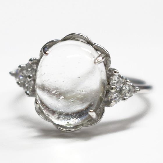 マニカラン産オーバルカボションヒマラヤ水晶シルバーリング(天然石 パワーストーン 指輪 リング) (tg180130cry001whirinc) メール便不可