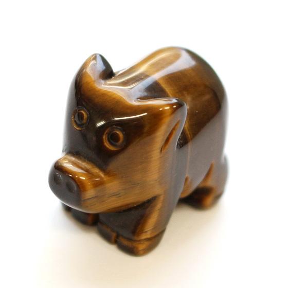 豚 (ぶた ブタ) タイガーアイ (tg180206tig001yelpig)