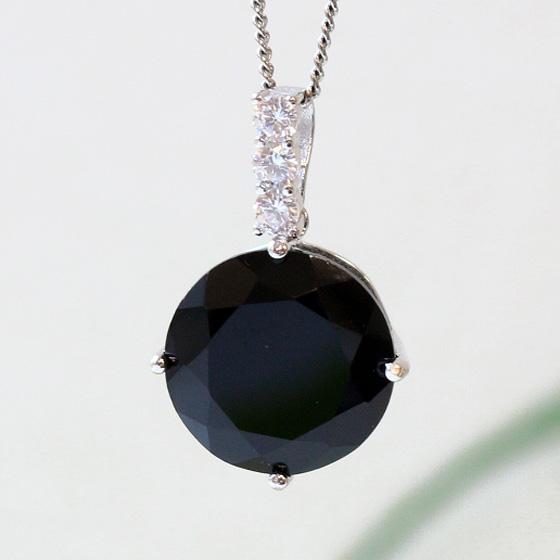 中国産黒水晶ラウンド型シルバーペンダントトップ
