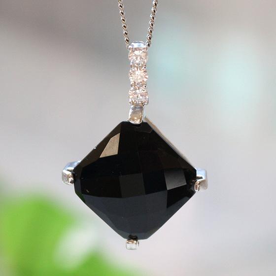 中国産黒水晶ひし形シルバーペンダントトップ