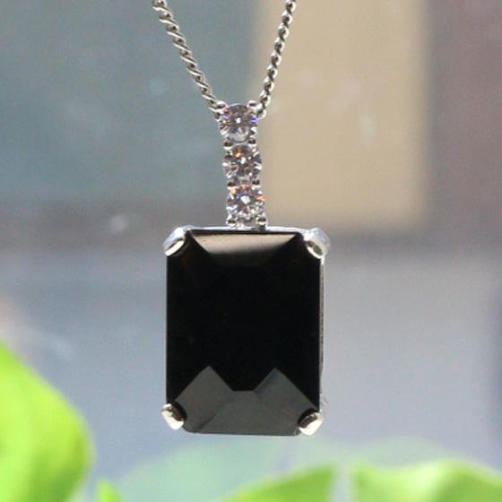 中国産黒水晶長四角シルバーペンダントトップ