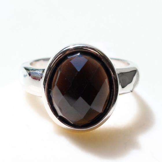 中国産黒水晶オーバルカットシルバーリング