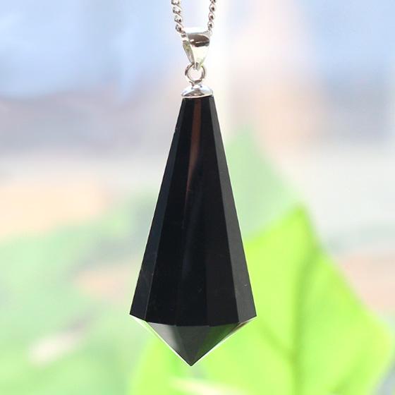 黒水晶ロングドロップペンダントトップ