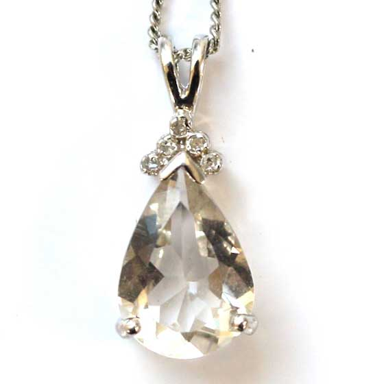 ハーキマーダイヤモンド(ハーキマー水晶)ドロップカットSV25ペンダントトップ