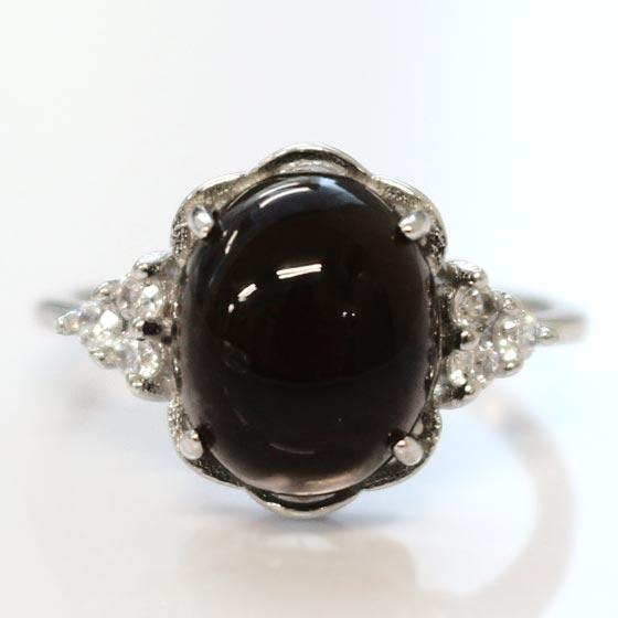 黒水晶オーバル型シルバーリング