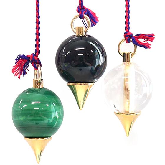 ヒマラヤ水晶・マラカイト・黒水晶のペンデュラム3点セット