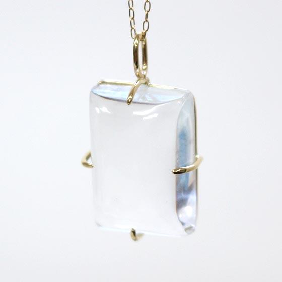 K18ガネーシュヒマール産ヒマラヤ水晶長方形型ペンダントトップ