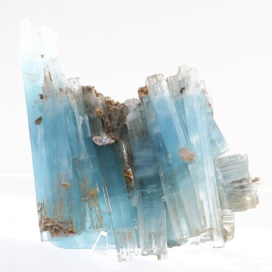 鑑別書付きブラジル産アクアマリン原石結晶(天然石 パワーストーン 柱 鑑賞石)