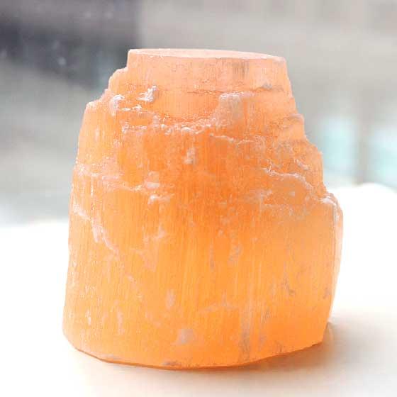 モロッコ産セレナイトキャンドルホルダー(オレンジ)