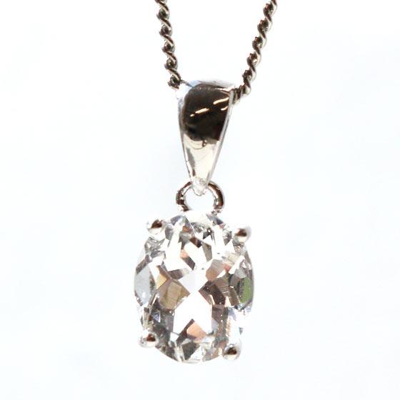 ハーキマーダイヤモンド(ハーキマー水晶)オーバル型シルバーペンダントトップ