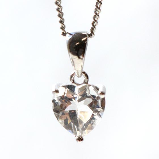 ハーキマーダイヤモンド(ハーキマー水晶)ハート型シルバーペンダントトップ