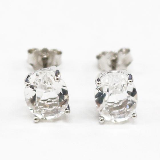 ハーキマーダイヤモンド(ハーキマー水晶)オーバル型シルバーピアス