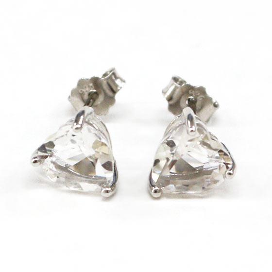ハーキマーダイヤモンド(ハーキマー水晶)ハート型シルバーピアス