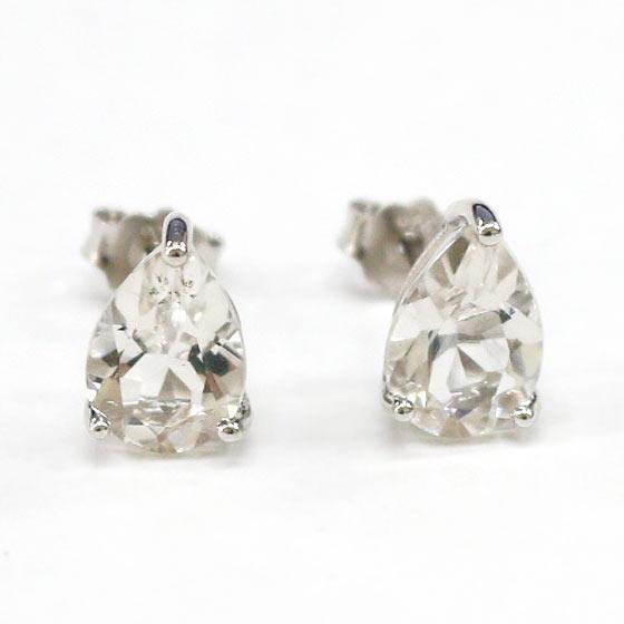 ハーキマーダイヤモンド(ハーキマー水晶)ドロップ型シルバーピアス