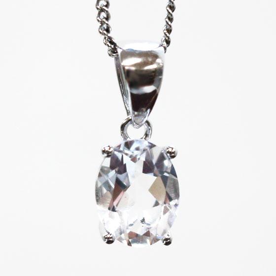 4月誕生石 水晶オーバル型シルバーペンダントトップ