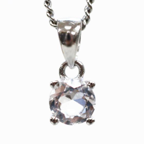 4月誕生石 水晶ラウンド型プチペンダント