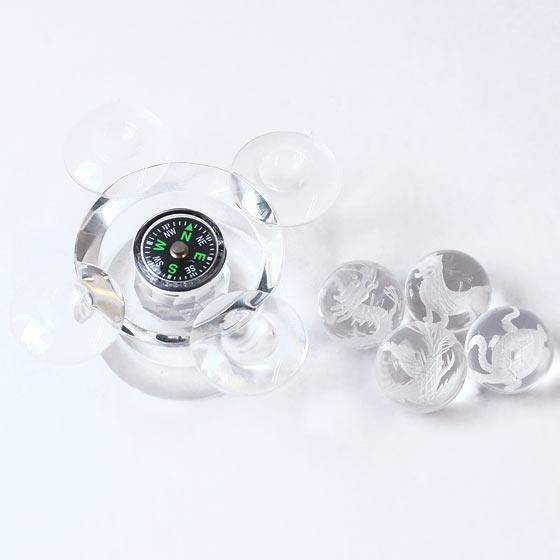 四神水晶20mm球 方位磁石付き台座 浄化セット