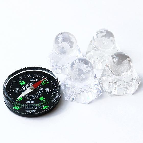 四神水晶20mm球(台座・方位磁石付き)浄化セット