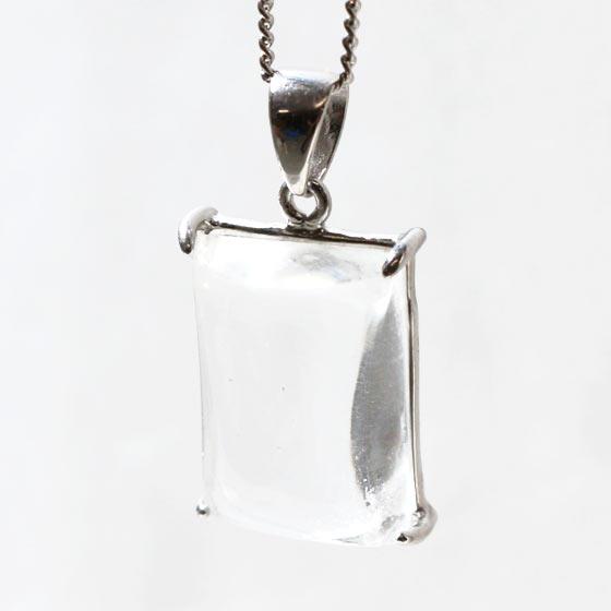 ガネーシュヒマール産ヒマラヤ水晶長方形シルバーペンダントトップ